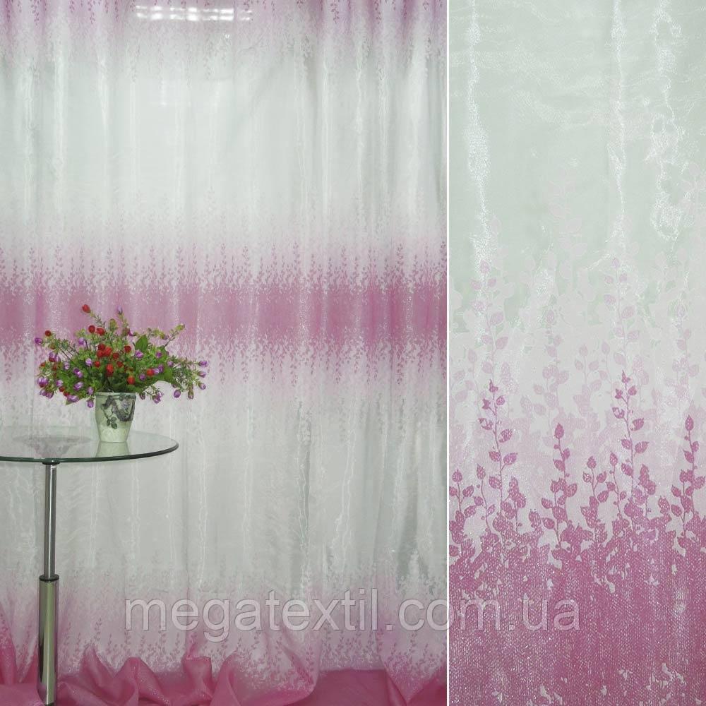 Органза деворе біла з рожевим купоном гілочки ш.275 (30153.001)