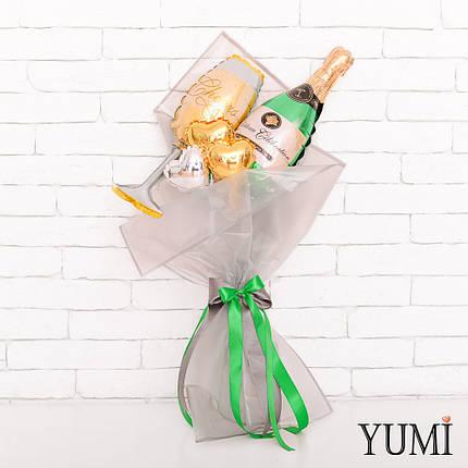 Букет из мини-фигур: шампанского, бокала и 3 микро-сердец, фото 2