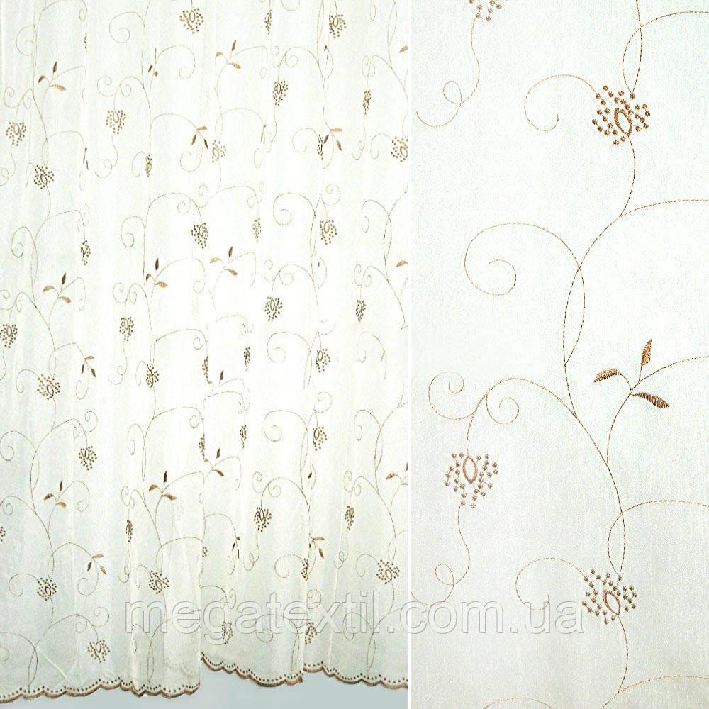 Вуаль біла з коричневою вишивкою (30168.001)