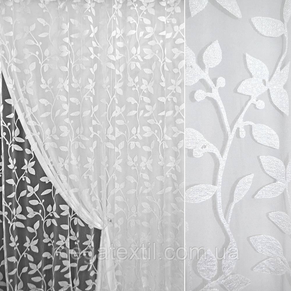 Органза орарі біла з кучерявими гілочками з листям ш.280 (30205.001)