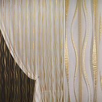 Органза орарі золото темне з кучерявими смугами ш.280 (30205.006)