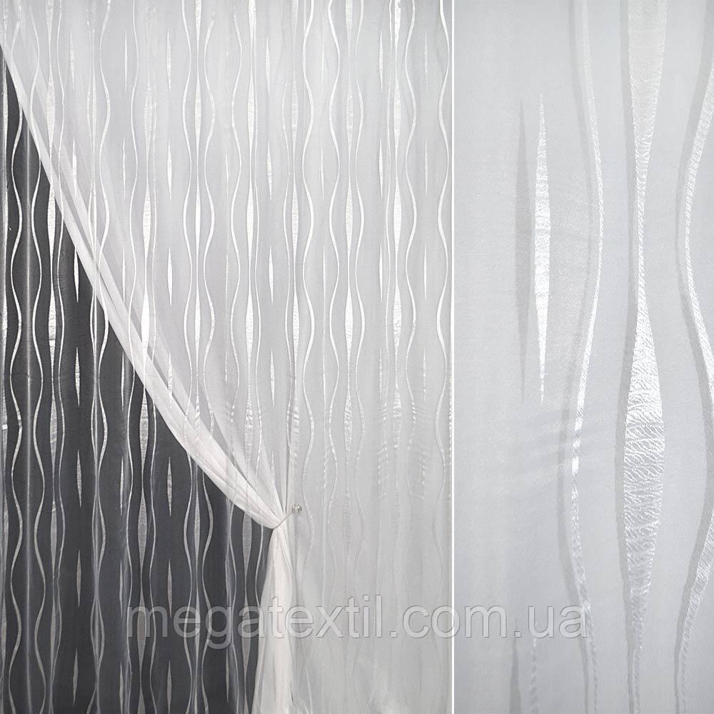 Органза орарі біла з кучерявими смугами ш.280 (30205.009)