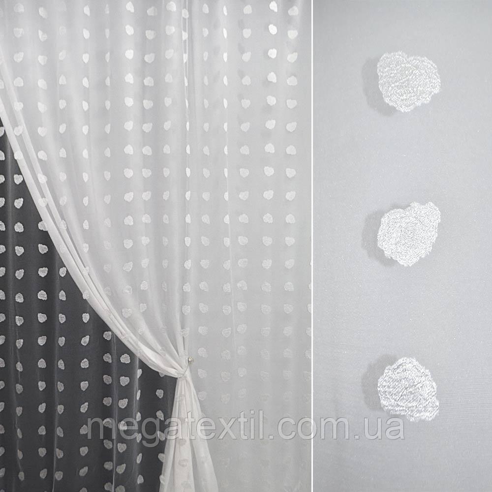 Органза орарі біла з атласним квіткою (троянда) ш.280 (30205.011)