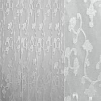 Органза орарі біла в білі кучеряві атласні квіти ш.280 (30210.003)