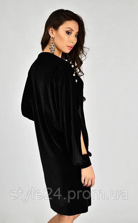 ЖІноче бархатне плаття з жемчугами та розрізами на рукавах .Р-ри 42 ... 20b9b7dd5560e