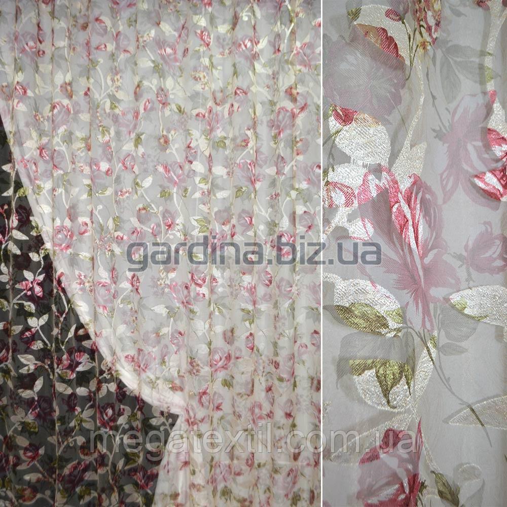 Органза орарі кремова з вишнево-білими квітами ш.275 (30214.002)