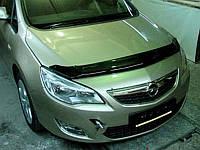 Дефлектор капота (мухобойка) OPEL Astra 2010-, хб, темный, длинный