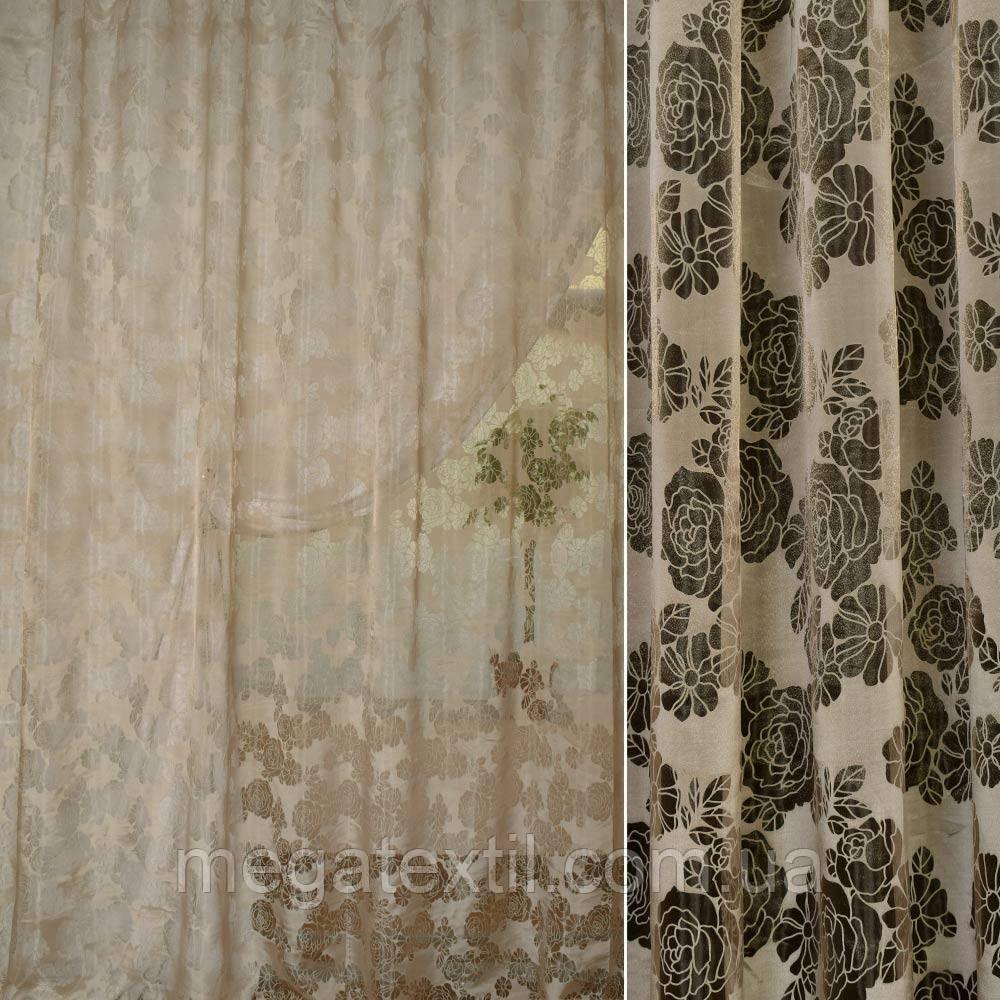 Органза деворе бежево-коричнева в ромашки і троянди ш.280 (30219.006)