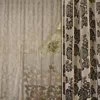 Органза деворе бежево-коричнева в ромашки і троянди ш.280 (30219.006), фото 1