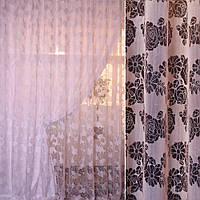 Органза деворе рожева в ромашки і троянди ш. 280 (30219.007), фото 1