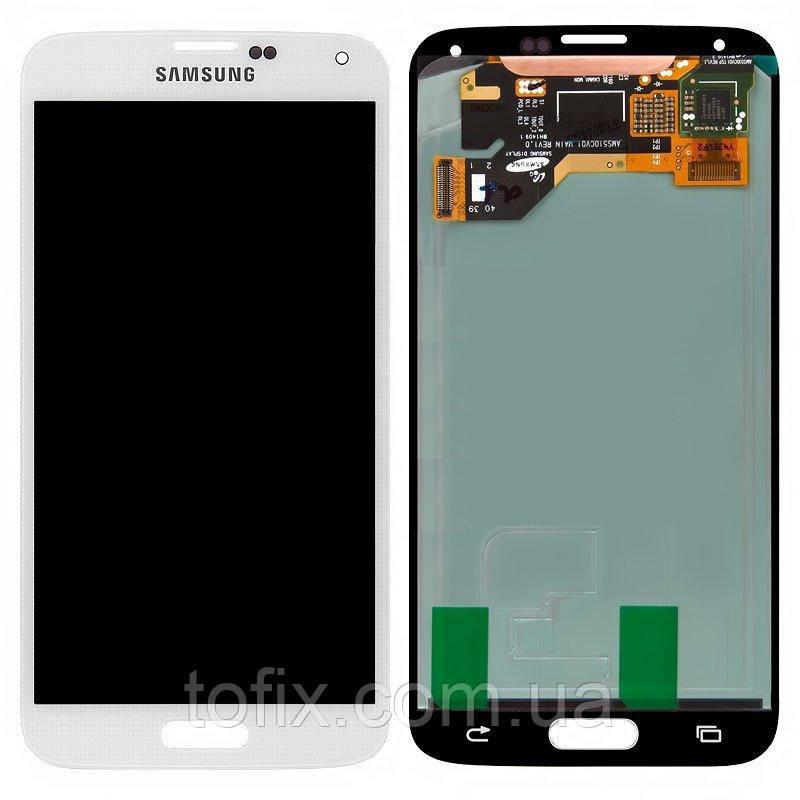 Дисплейный модуль (экран и сенсор) для Samsung Galaxy S5 G900, белый, оригинал