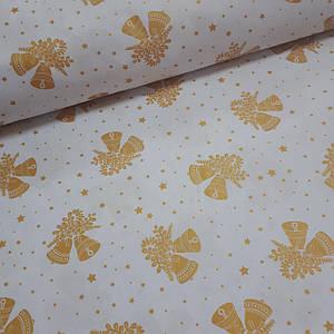 Ткань новогодняя польская хлопковая, золотые (глиттер) колокольчики на белом отрез (размер 0,5*1,6 м)