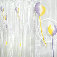 Органза деворе біла з фіолетово-жовтими тюльпанами (30221.008)