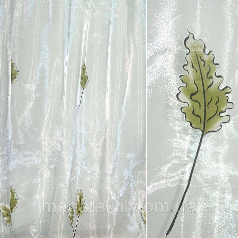 Органза деворе біла з дубовим листям (30221.009)