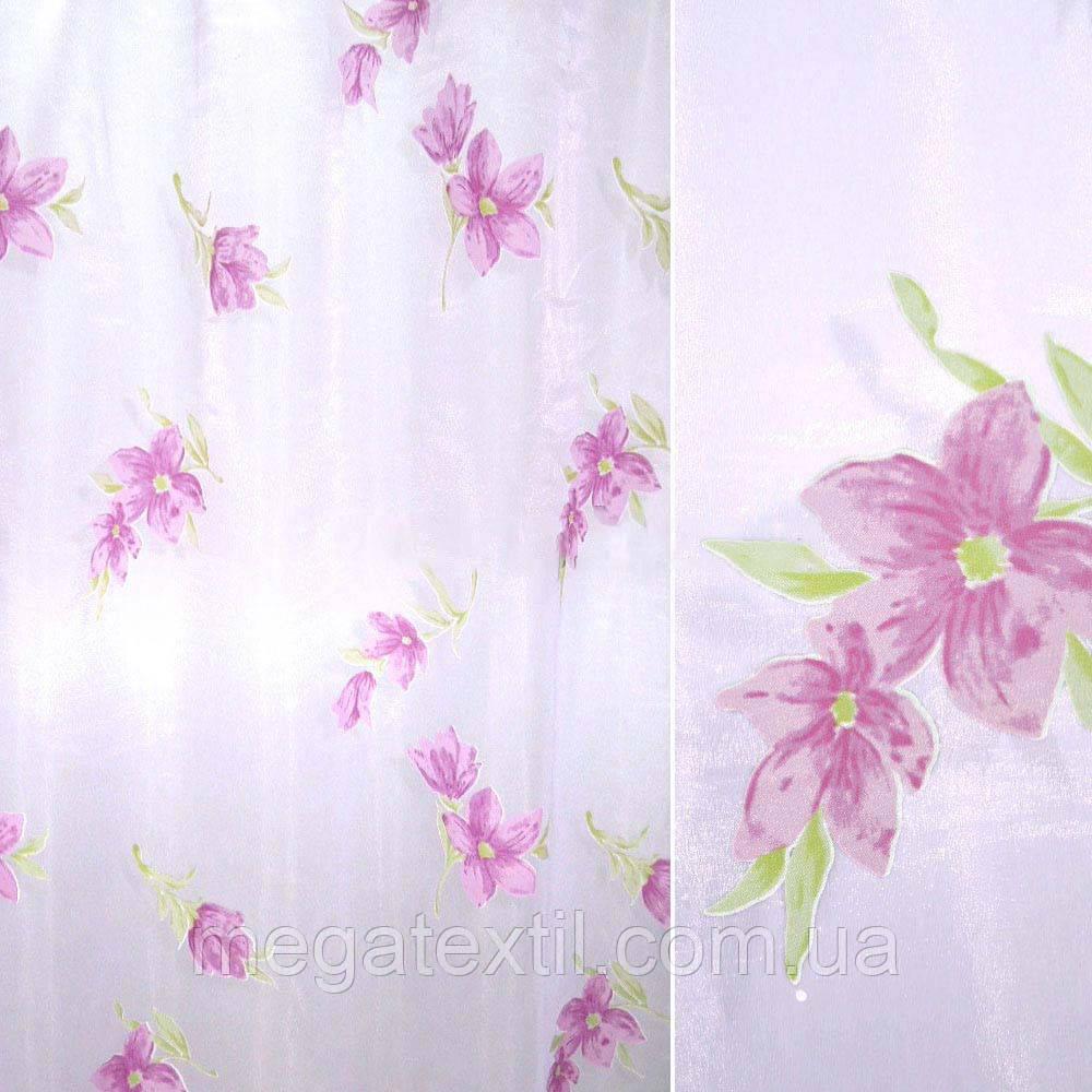 Органза деворе бузкові квіти (30222.001)