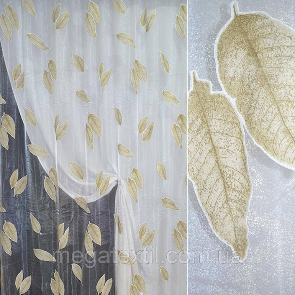 Органза деворе біла з коричневими листям ш.270 (30224.002)