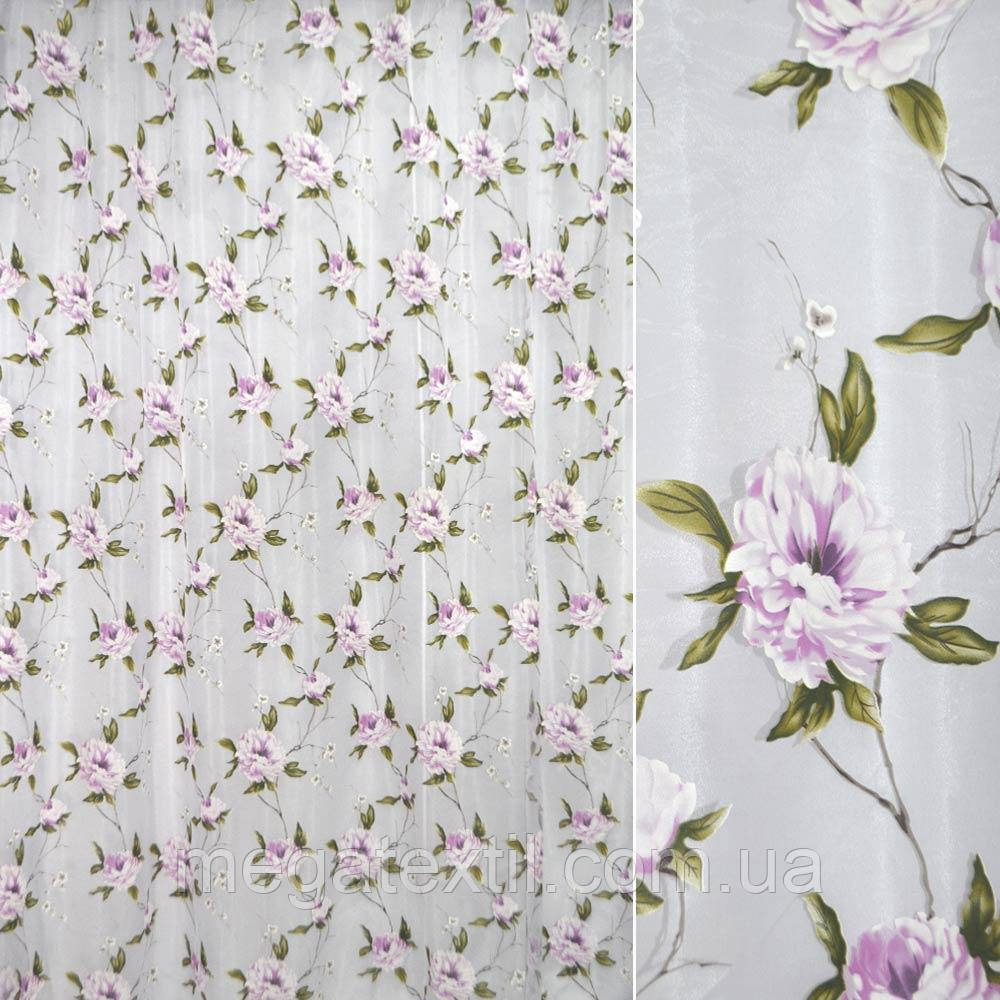 Органза деворе біла з бузково-білими квітами ш.270 (30226.004)