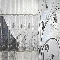 Органза деворе молочна в сірі квіти і серпантин ш.270 (30226.006)