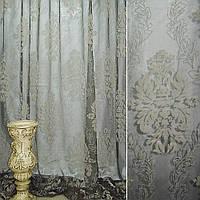 Органза деворе сіра з бежевими листям ш.280 (30228.003)