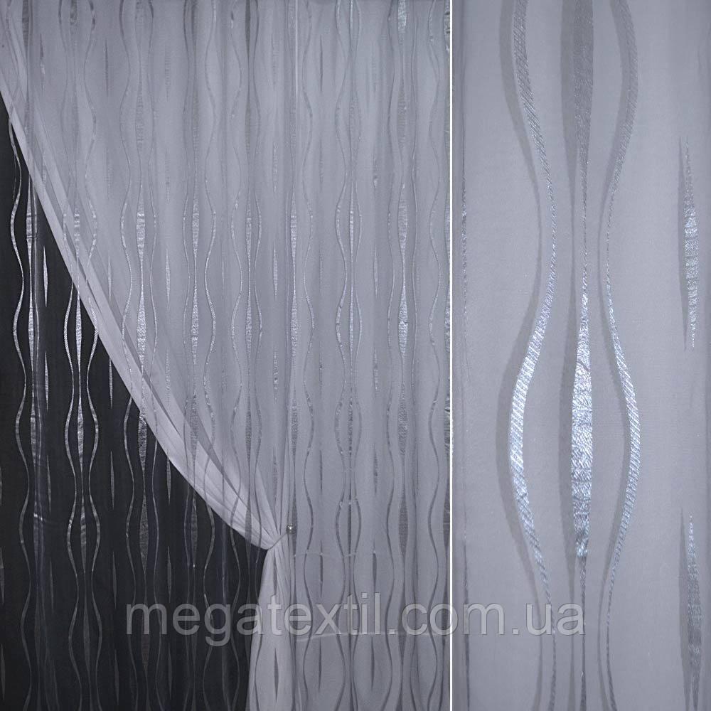 Органза орарі сіра світла з кучерявими смугами ш.280 (30232.001)