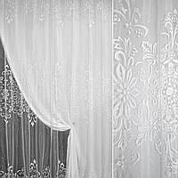 Органза деворе біла з завитками і квітами ш.275 (30236.001)