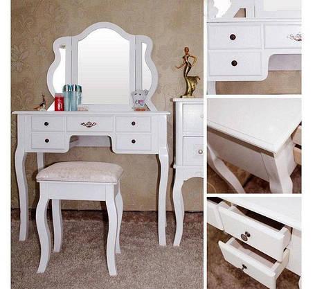 Туалетний столик, Трюмо + стілець + 5 шуфлядок, фото 2