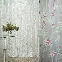 Органза деворе біла з дрібними червоними квітами і серпантином купон ш.275 (30237.004)