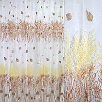 Органза біла з жовто-коричневими деревами (купон) ш.270 (30241.001)