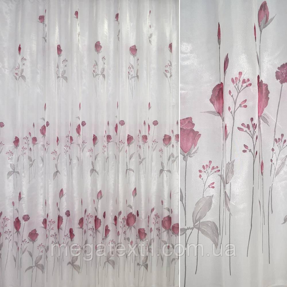Крісталлон білий з вишневими трояндами ш.270 (30310.003)