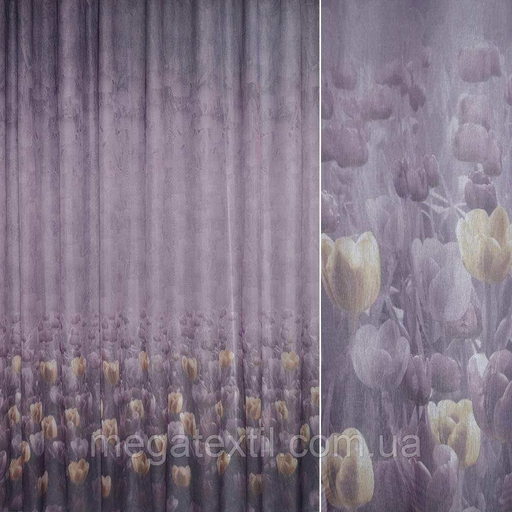 Крісталлон фіолетовий з бежево-золотими тюльпанами ш.275 (30312.001)
