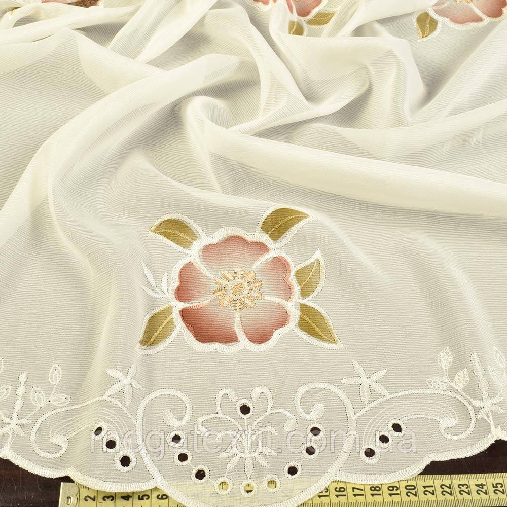 Крісталлон вершковий з аплікацією високі квіти (30323.002)