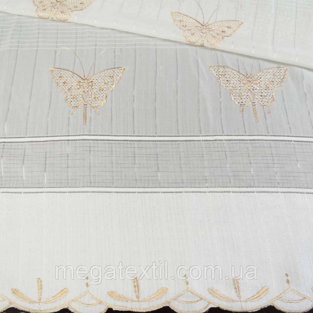 Льон французький бежевий з вишивкою (30405.001)