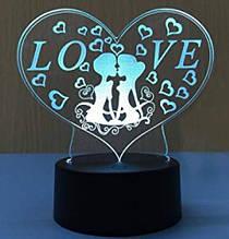 """3D нічник """"Любов"""", сенсорний, світлодіодний, романтичний подарунок"""