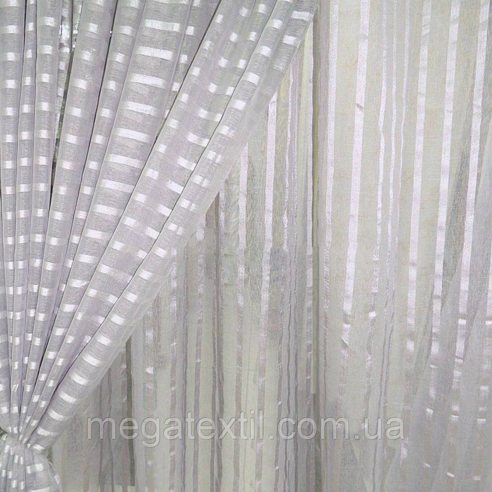 Льон французький сірий світлий з атласними смужками ш.280 (30412.004)