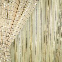 Льон французький золотистий з крученими смужками і коричневими рядками ш.280 (30412.019)