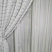 Льон французький сірий світлий з крученими смужками і коричневими рядками ш.280 (30412.020)