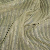 Льон французький бежево-оливковий в смужку ш.280 (30413.028)
