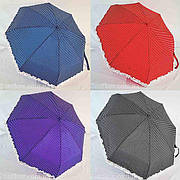 """Кишеньковий механічний жіночий парасольку в горошок №SW429 з рюшів від фірми """"Feeling Rain""""."""