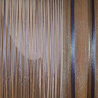 Льон з органзою теракотовий з синьо-теракотової смугою (30419.001)
