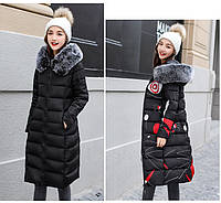 Двустороннее женское зимнее пальто пуховик парка с принтом абстракция и мех на капюшоне р.М(42)