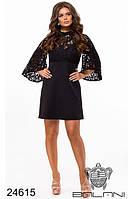 Платье вечернее чёрное гипюровое короткое