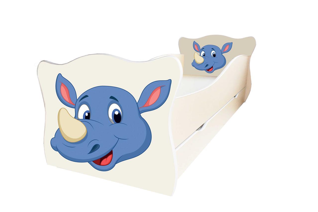 Детская кровать Animal 6 Носорог с ящиком 70х140