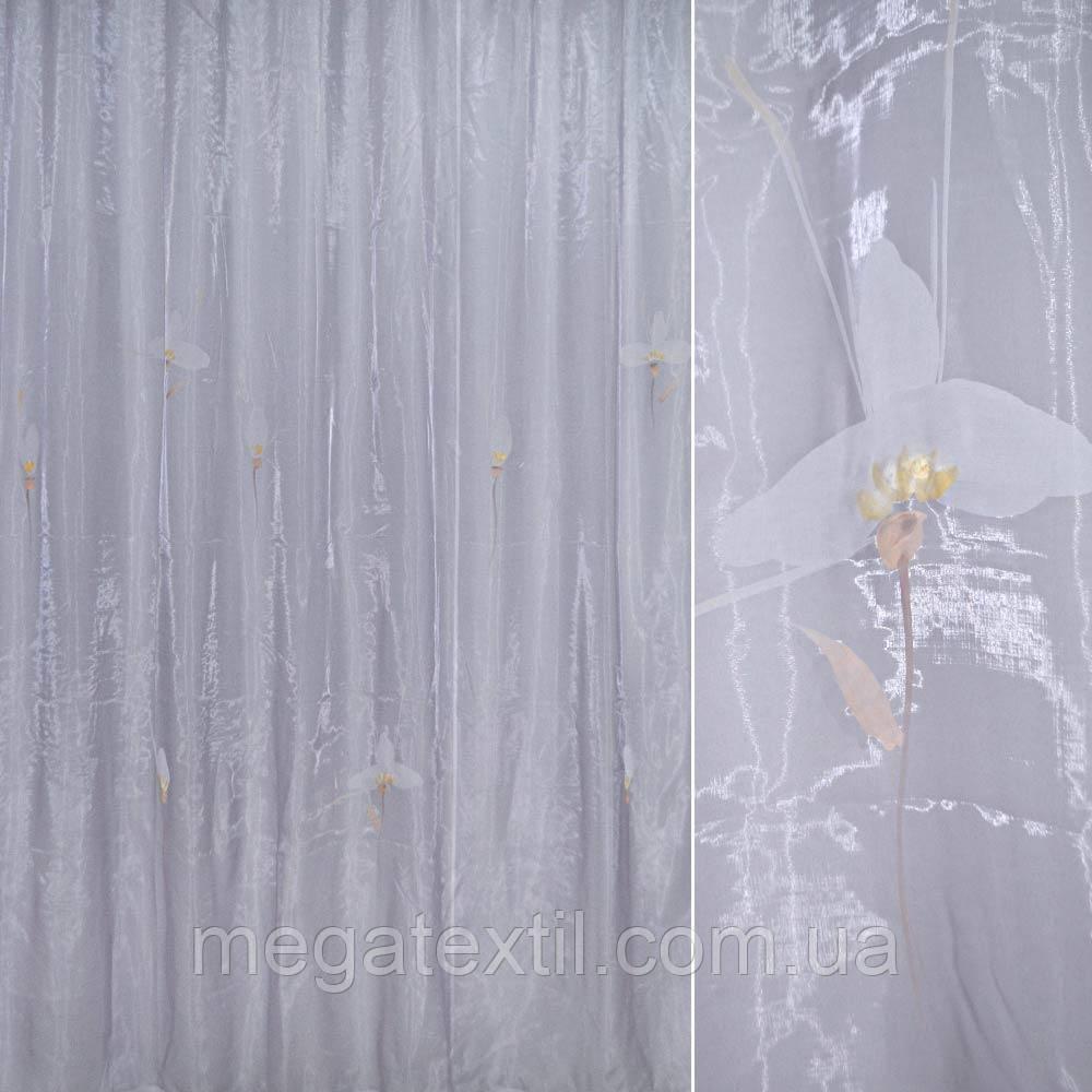 Органза бузкова з великими світлими квітами (30501.003)