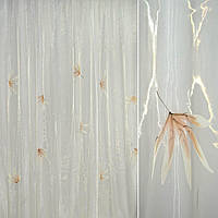 Органза молочна з коричневими пальмовими гілочками (30501.004)