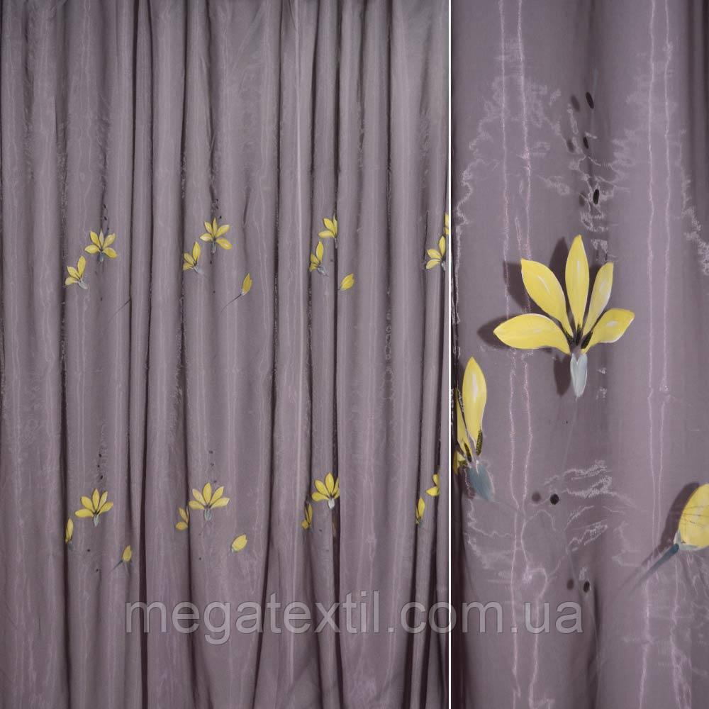 Органза бузкова темна з жовтими квітами і сірим стеблом (30502.004)