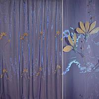 Органза фіолетова з абрикосовими високими квітами (30502.007)