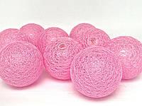 Декоративные тайские гирлянды Cotton Balls Ярко Розовые