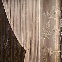 Органза коричнева з біло-рожевими квітами (30502.010)