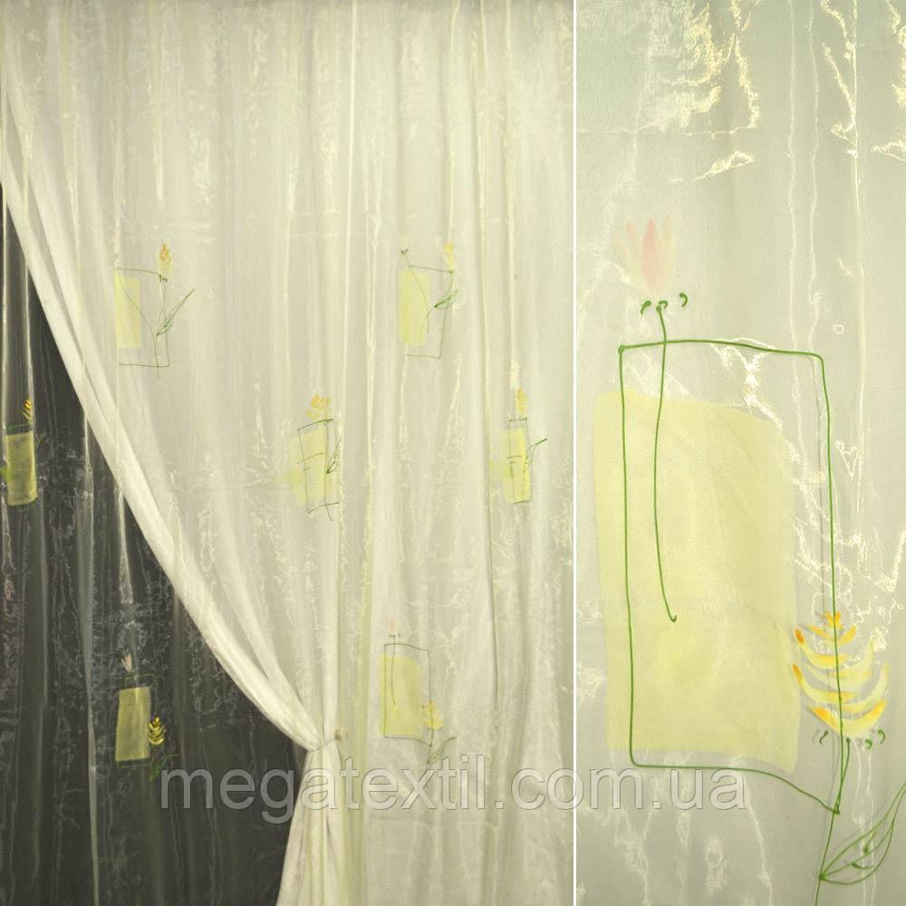 Органза жовта бліда з жовтими і рожевими квітами (30502.016)