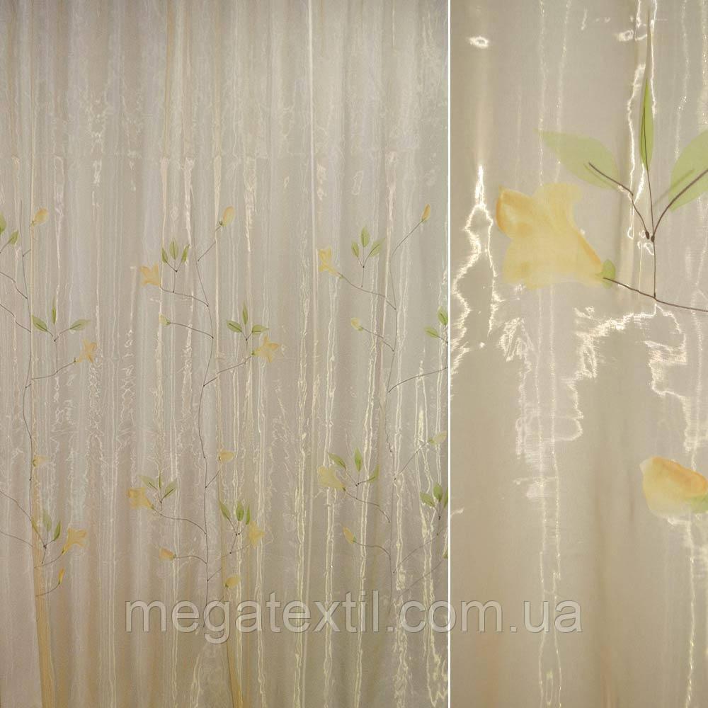 Органза бежева з високими жовтими квітами (30502.019)